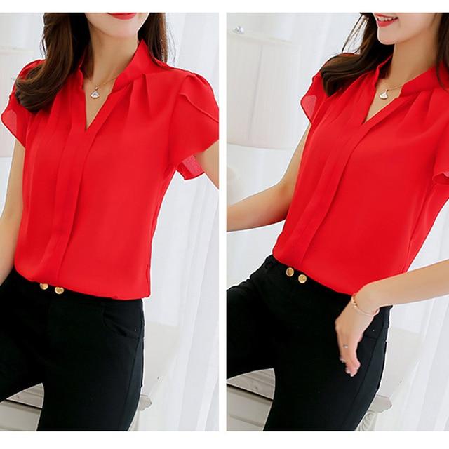 2018 Women Shirt Chiffon Blusas Femininas Tops Short Sleeve Elegant Ladies Formal Office Blouse Plus Size