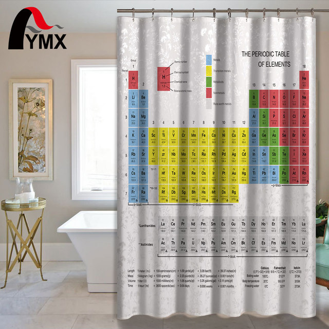Creative Periodic Table of Elements Digital Printing Shower Curtains ...