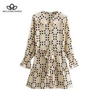 Bella Philosophy Sweet Polka Dot Print Ruffles Mini Dress Women 2019 Peter pan Collar skirt Dresses Casual Vestidos Mujer