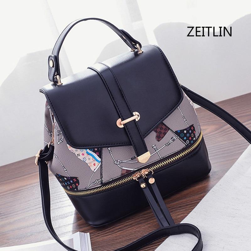 ZEITLIN 2018 New Women Mini Printing Backpack Female Small Travel Back Pack Rucksack Women School Bags for Teenagers Girls M0247