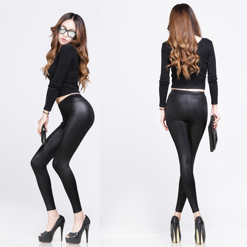 New Fashion Women Nylon Leggings High Waist Stretch Skinny Shiny Pants Slim Fit Legging Autumn Trousers GDD99