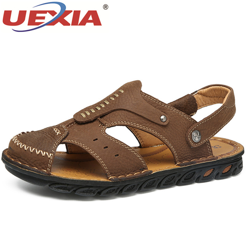 UEXIA Comfortable Men Sandals Summer Casual Handmade Shoes Mens Beach Sandals Shoes Breathable Genuine Leather Sandals Footwear