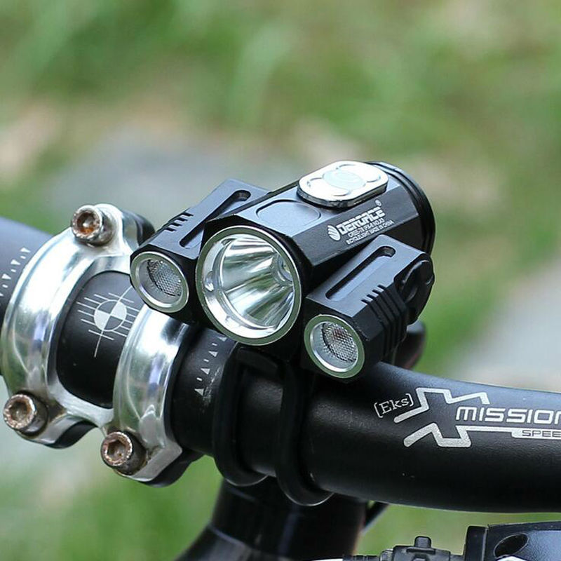 Цена за Cree t6 светодиодный велосипед лампа x3 велосипед свет заряда батареи фары mtb 180 градусов регулируемых ipx6 фонарик велоспорт аксессуары