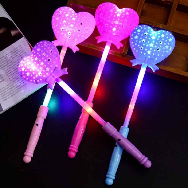 1Pc LED Licht Toverstaf Prinses Scepter Magic hartvormige Knipperende Wand Speelgoed Multi Kleur Gloeiende Wand Voor party Concert #20