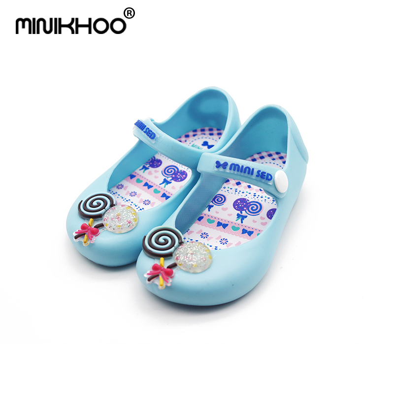 Mini Melissa Brazilian Jelly Sandals For Girl Lollipop Baby Jelly Sandals Children Candy Shoes Waterproof Girl Beach Sandals