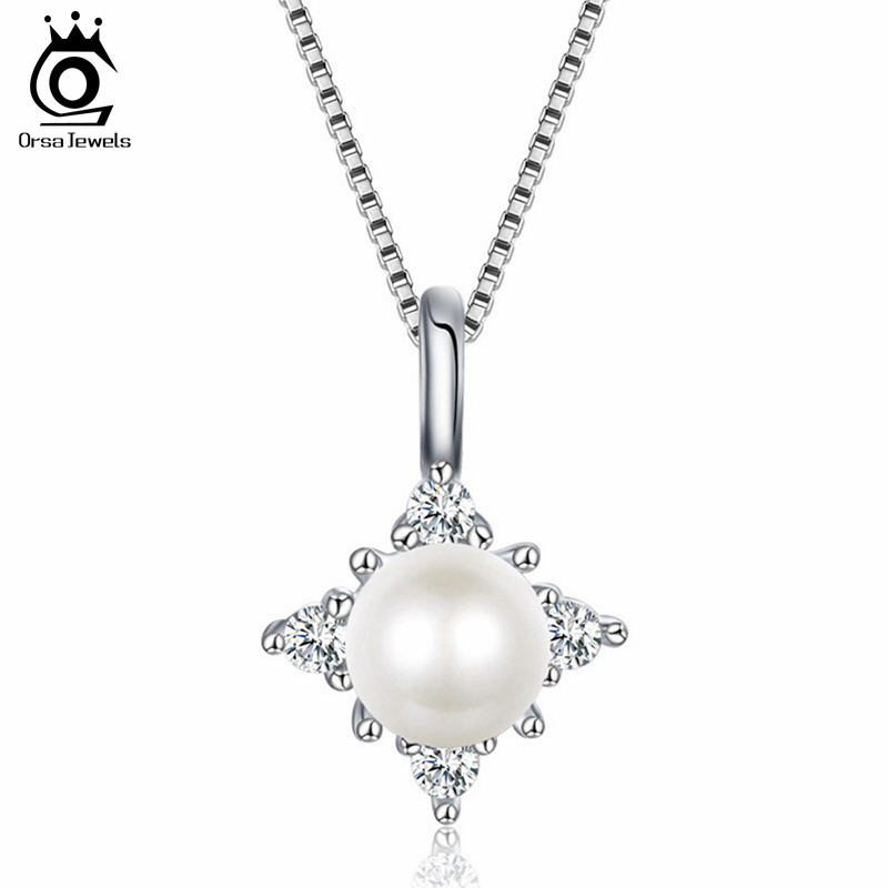ORSA JEWELS 925 Sterling Silver Women Necklaces Freshwater Pearls Prong Setting AAA Zircon Pendant Female Luxury Jewelry PSN53