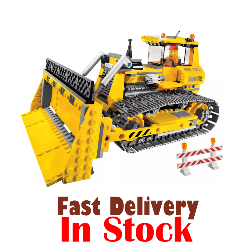 LEPIN City 02074 394PCS City CONSTRUCTION BULLDOZER Dozer Building Blocks Bricks enlighten toys for Kids Compatible with 7685 0367 sluban 678pcs city series international airport model building blocks enlighten figure toys for children compatible legoe