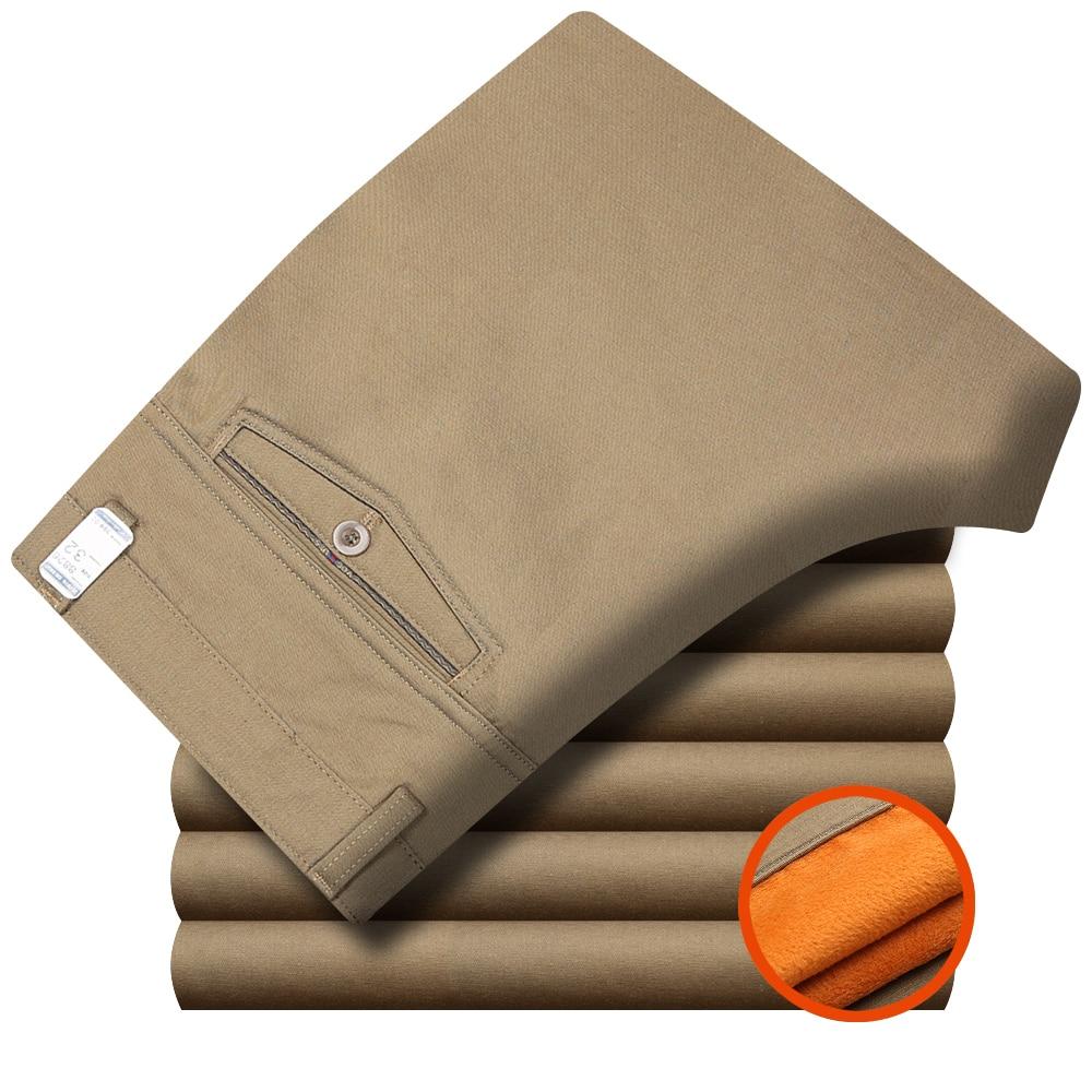 Winter With Velvet Thicken Middle-aged Men's Casual Pants Male High Waist Straight Cotton Trousers Warm Fleece Men Pants Khaki