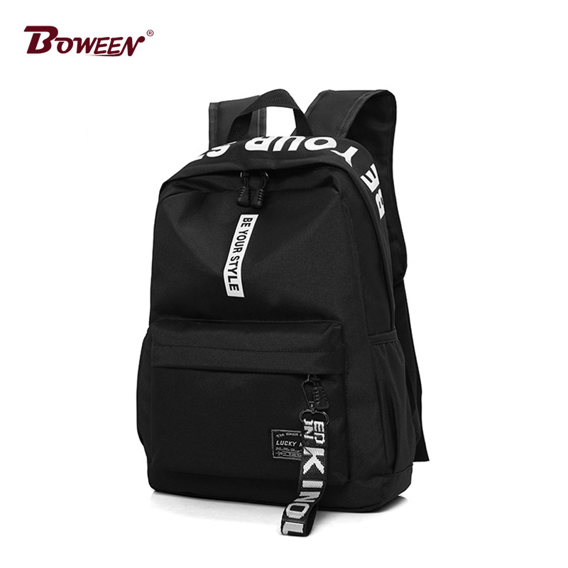 2019 black Women Backpack Female Nylon Teens Men Schoolbag Casual Style Student School Bags for Teenage Girls Back Pack Solid image