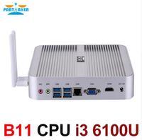 In Stock Skylake Fanless Mini PC Win 10 Barebone I7 6500U I5 6200U I3 6100U Intel