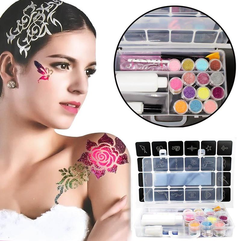 Temporary Glitter Tattoo Kit Princess 24 Stencils 24 Glitters Glue Brush Flash Tattoos Temporary Tattoo Sticker Glitter Powder бодиарт other gold placement temporary tattoos asos