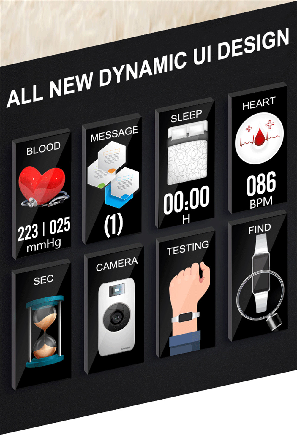 Greentiger H8 Smart Bracelet Women Activity Fitness Tracker Heart Rate Monitor Blood Pressure IP67 Waterproof Smart Wristband