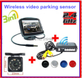 Cheapest promotion/Wireless car camera parking system+ 3.5monitor +night vision IR LED camera+ 4 sensor parking wireless video