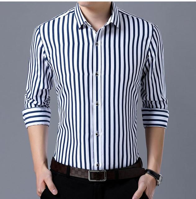 Business men casual fashion stripe long sleeved shirts 4