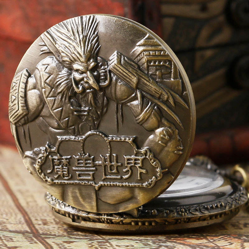 Creative Pocket Watch Man Vintage Bronze World Of Warcraft Steampunk Pocket Watches Fob Watch Men P91 Reloj De Bolsillo Hombre