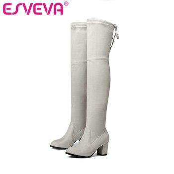 Esveva/2017 г. Сапоги выше колена из флока зимние женские ботинки с круглым носком женские на шнуровке стрейч ткани модные ботинки большой Размер...