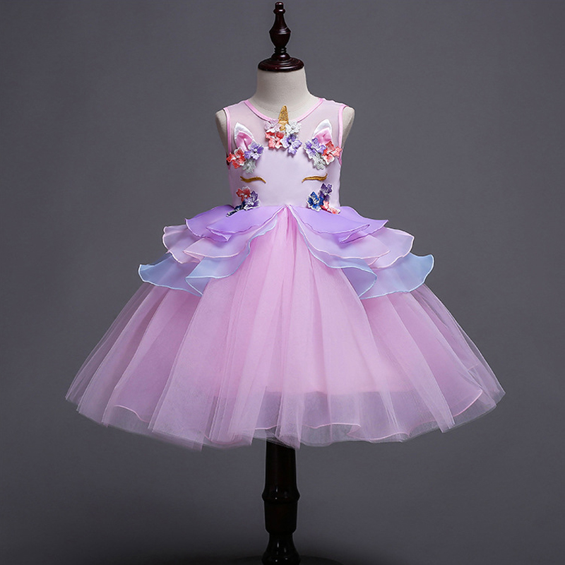 2-10Yrs Kids Unicorn Dress for Girls Embroidery Flower Ball Gown Baby Girl Princess Dresses for Party Costumes Vestido Unicornio 2016 new girl embroidery princess sleeveless dress kids baby children s party ball gown vestido de festa for 3 10y