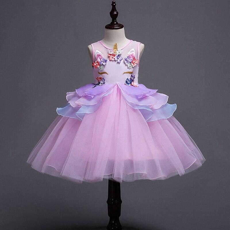 2-10Yrs enfants licorne robe pour filles broderie fleur robe de bal bébé fille princesse robes pour Costumes de fête Vestido Unicornio