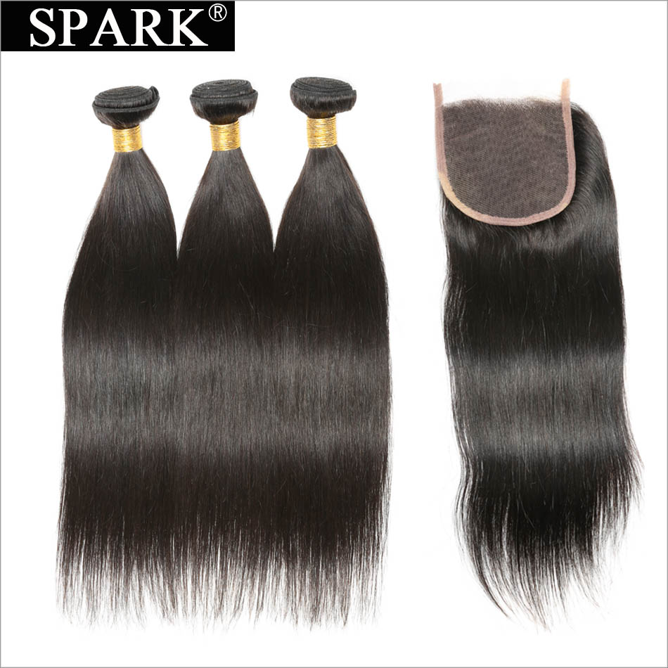 Peruvian Straight Hair Bundle With Lace Closure Spark Remy Human Hair Weave 3/4 Bundles With Closure Free Part Natural Color