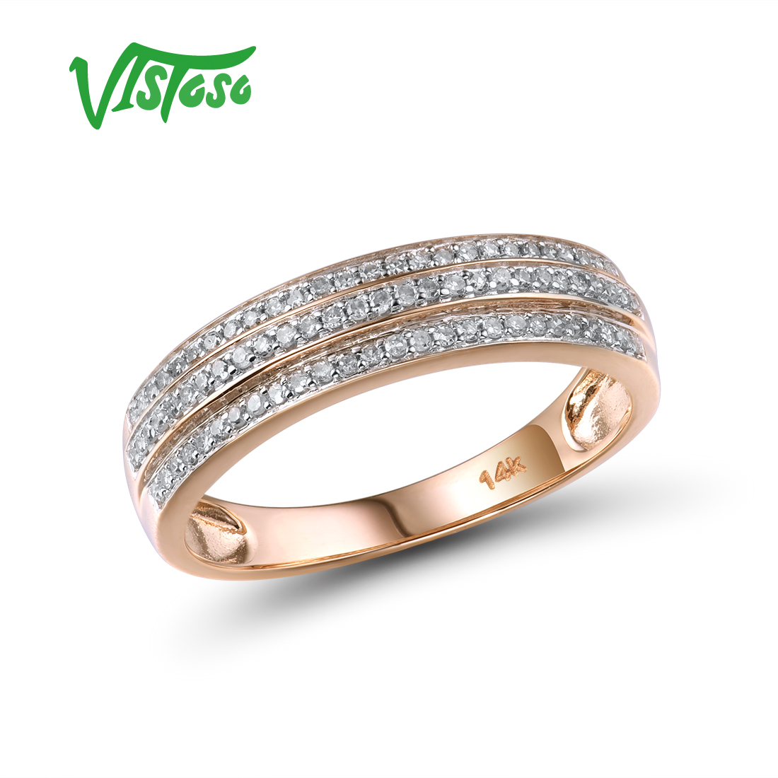 VISTOSO Gold Rings For Women Genuine 14K 585 Rose Gold Ring Sparkling Diamond Promise Engagement Rings