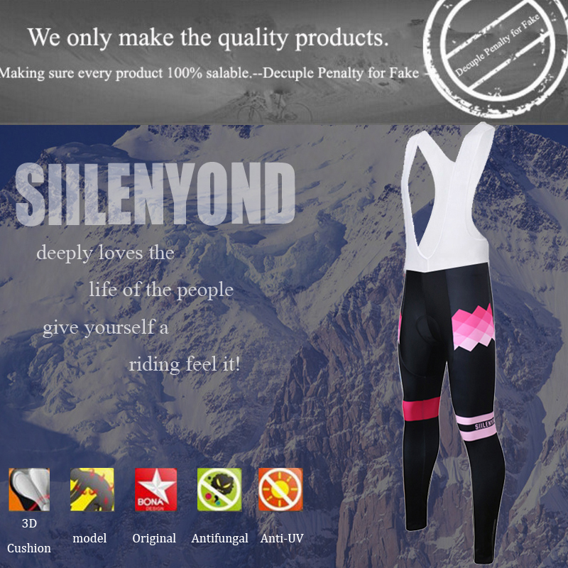 Siilenyond 2019 Women Winter Thermal Cycling Bib Pants Shockproof MTB Bike Cycling Bib Trousers With Coolmax 3D Gel Padded 1