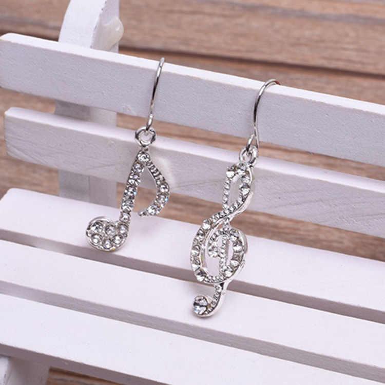 Asymmetrische Persoonlijkheid Trendy Muzieknoten Oorhaak Kristal Zilveren Kleur Rhinestone Earring Vrouwen Accessoire Lady Dangle Oorbellen