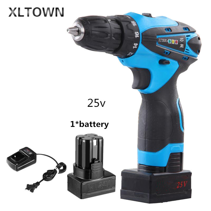 цена на Xltown25v rechargeable lithium battery electric screwdriver two-speed switch electric drill household lithium battery power tool