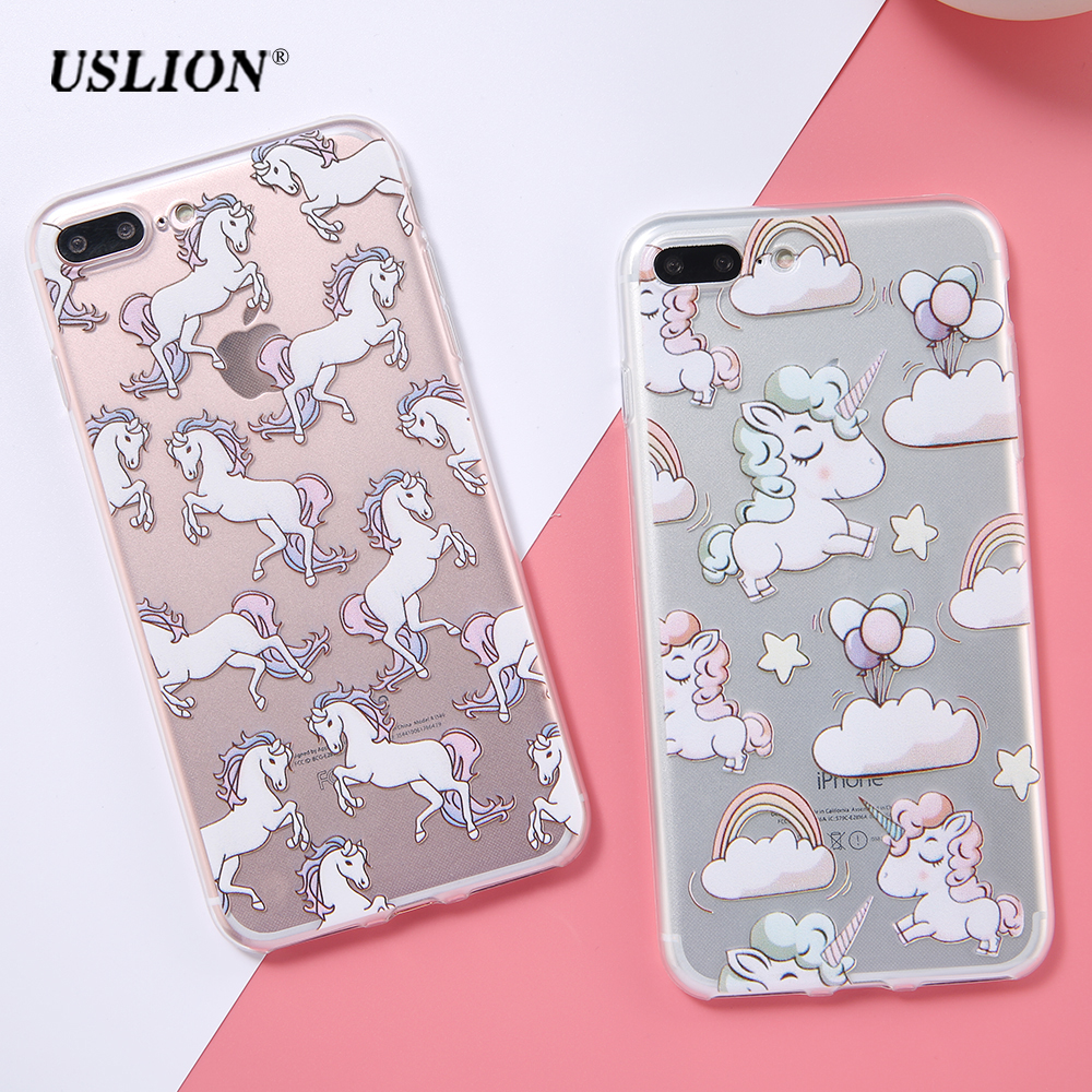 For Apple iPhone 6 6s 7 7 Plus Phone Cases Cute Horse Unicorn Cartoon Pattern Transparent Soft TPU Back Cover Case Capa Coque