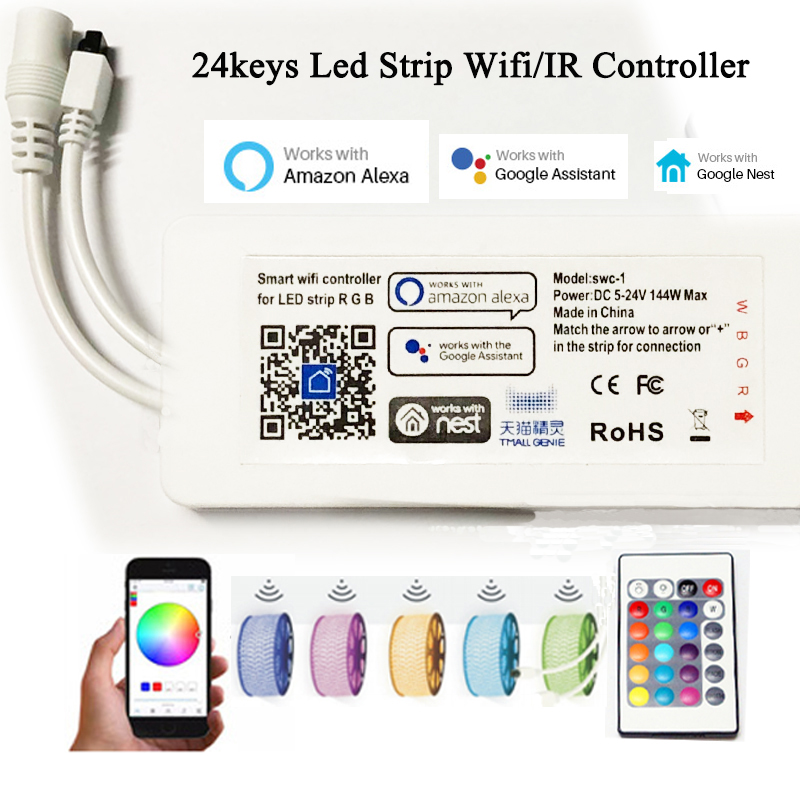 Wifi/IR Led Strip Controller Led Module, RGB RGBW Wireless Remote Control Smart Controller for Led Strip Light 5050 3528 5050 ip20 rgb led strip dc12v diode tape light with wireless wifi mini controller smart control 44 key ir remote controller