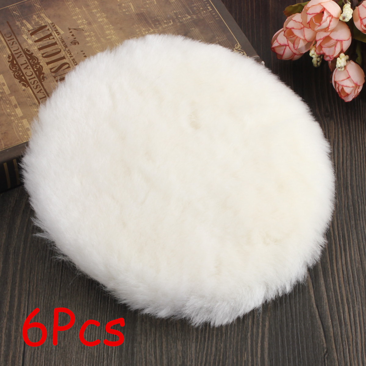 6PCS 150 Mm Lambs Wool Polishing Bonnet Car Polishing Pad Polish Waxing Pads For For Car Polishing Buffing Patch