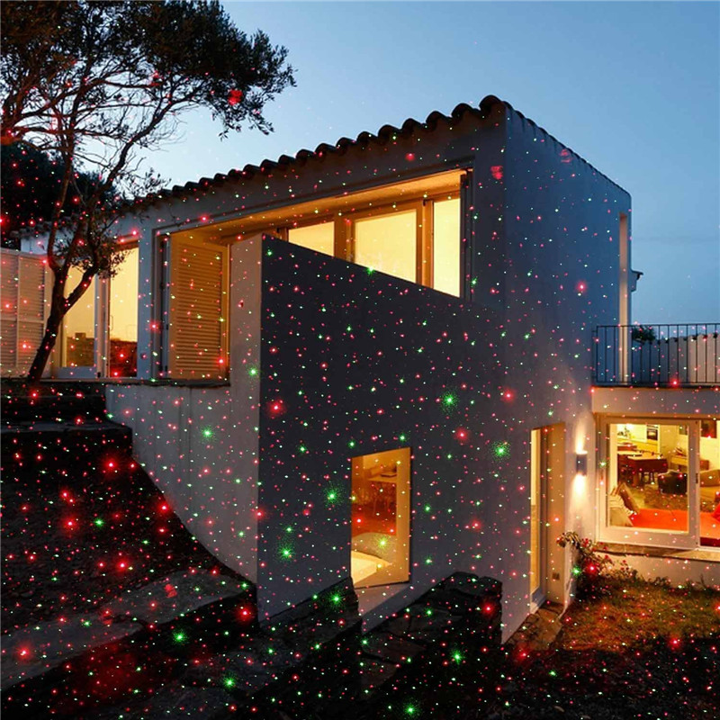 Led Starry Projector Laser Lights Motion With Remote Controller Red Green Outdoor Decoration Christmas Garden Yard EU Or US
