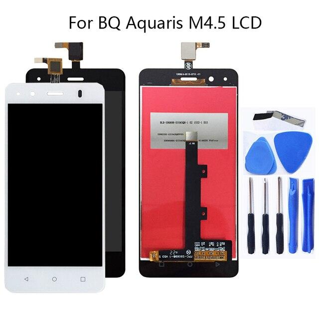 4.5 بوصة ل BQ Aquaris M4.5 شاشة إل سي دي باللمس شاشة الجمعية اكسسوارات الزجاج لوحة ل Aquaris M4.5 إصلاح لوحة اللمس عدة