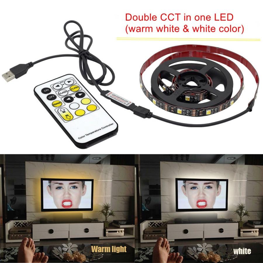 Dimmbare CCT Led Streifen Licht USB TV Hintergrundbeleuchtung Streifen 5050 Beleuchtung mit RF Controller Einstellbar für Wohnzimmer Schlafzimmer