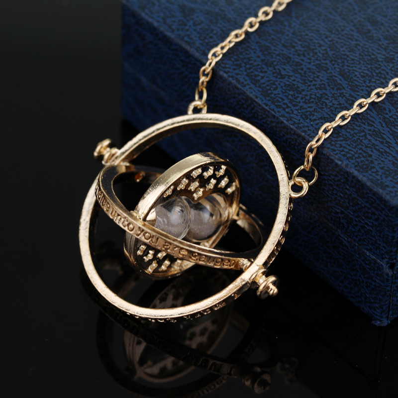 Wholesale 200PCS LOT Deathly Hallows Pendant Necklace Time Turner Time Converter Hourglass Sweater Chain Necklace For