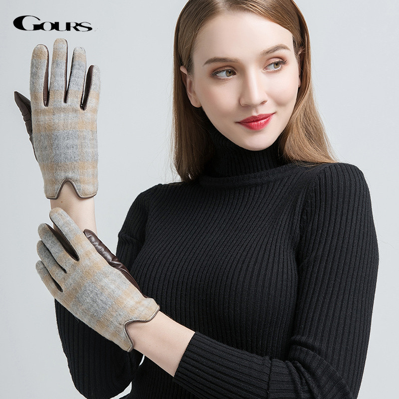 Gours Genuine Leather Gloves Women Wool Warm Winter Gloves Brown Real Goatskin Cashmere Driving Mittens New Arrival GSL038