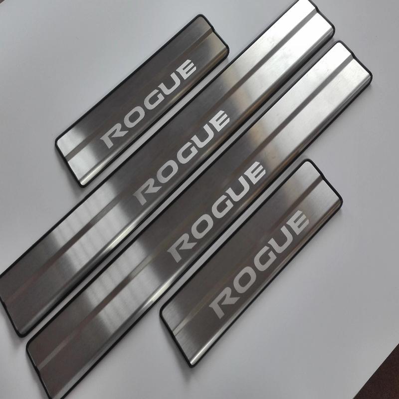 Car Styling Accessoires Pour Nissan Rogue T32 Inoxydable Porte Sill Cover version Plat D'usure Garde Porte Sills Protecteur Auto Autocollant