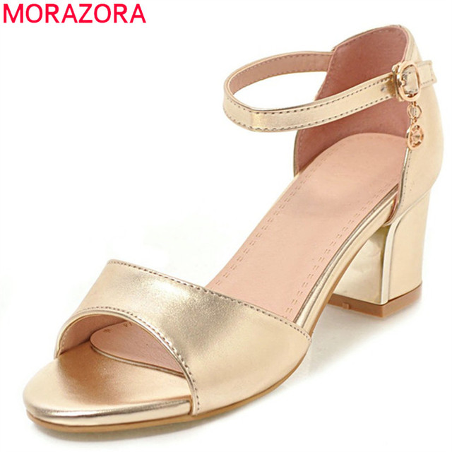6feef1011b1 MORAZORA 2018 size 33-43 peep toe summer shoes simple buckle women sandals  elegant golden silver dress shoes high heels shoes