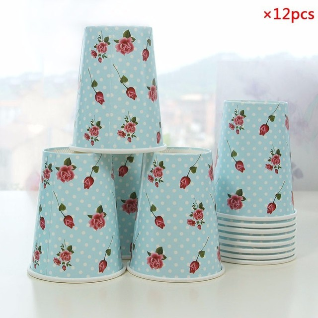12Pcs/Lot Colorful Rose Flower Stripe Paper Cups Disposable Tableware Christmas Birthday Party Table Decoration  sc 1 st  AliExpress.com & 12Pcs/Lot Colorful Rose Flower Stripe Paper Cups Disposable ...