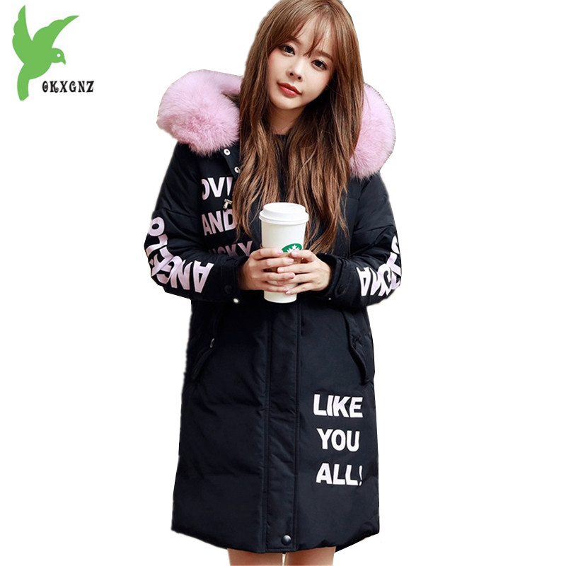 Women student winter jacket coats Cotton parkas Fashion thick warm jackets Hooded fur collar coats Plus size Loose parkas OKXGNZ middle aged women winter cotton jackets thick warm parkas plus size mother cotton coats hooded fur collar outerwear okxgnz a1238