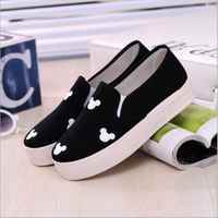 Spring Autumn Fashion Women Flats Canvas Shoes Platform Round Toe Breathable Shoes With Mickey Floral Print