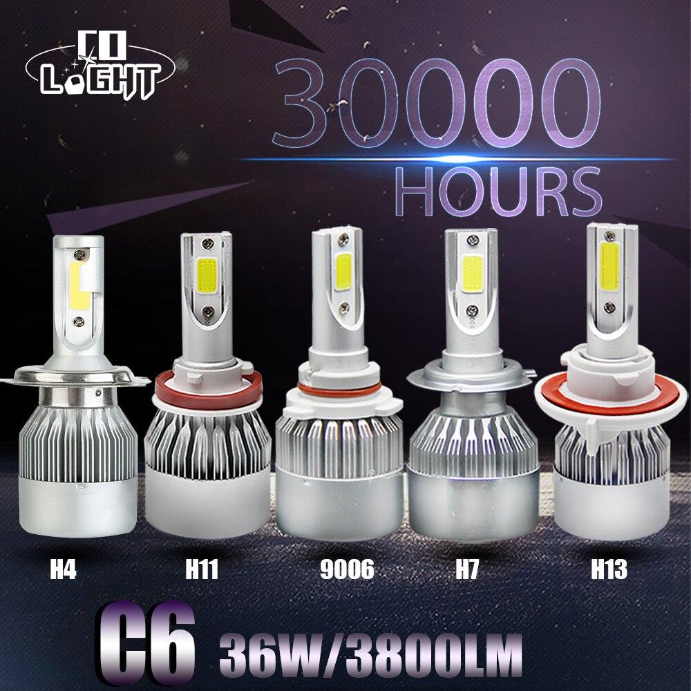 H7 Voiture Led Ampoule 72 W Ampoule H4 Haut Bas Faisceau H13 9006/Hb4 simples Feux de jour pour Audi Q7 Cruze Prado 120 Chevrolet VW