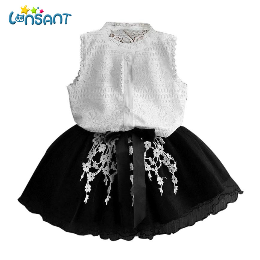 LONSANT Girls Dress Baby Girls Clothes Set Summer Solid Shirt Dress Cotton Sleeveless Fa ...
