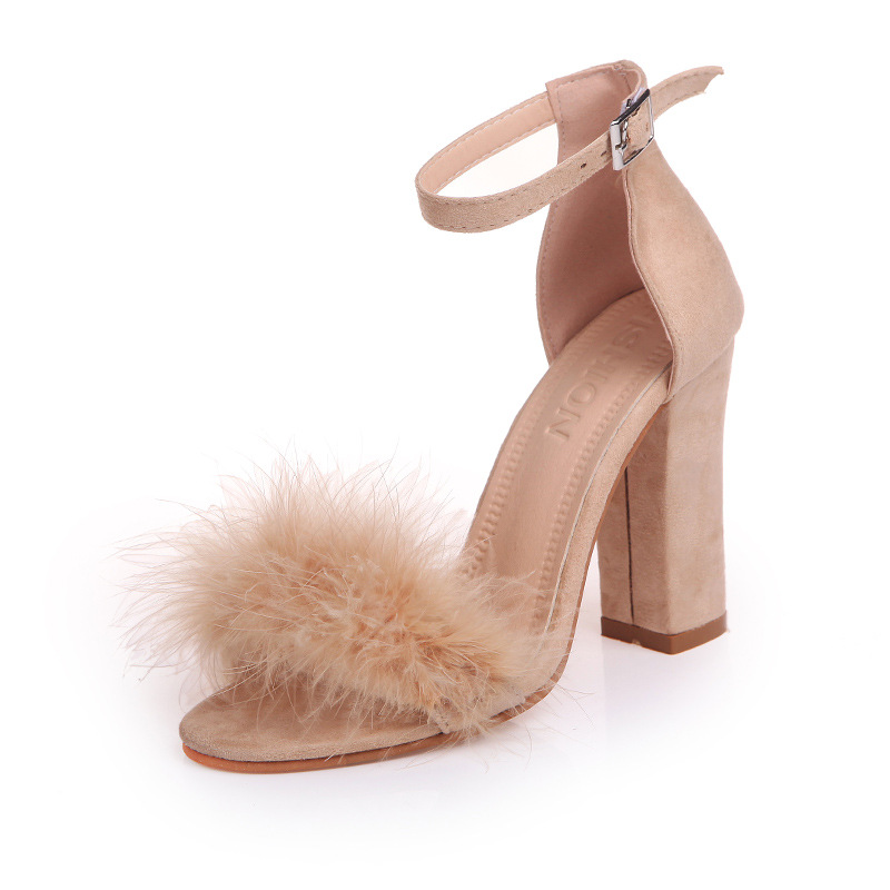 Woman Fur Sandals Gladiator Shoes Women Summer Super High Heels Rabbit Hair Peep Toe Elegant Sexy Luxury Brand Design in High Heels from Shoes