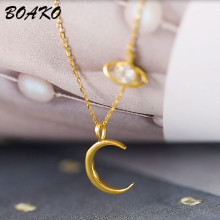 BOAKO Crescent Moon Necklace Zircon Crystal Planet Pendant Necklace for Women 925 sterling-silver-jewelry Short Chain Necklace цена