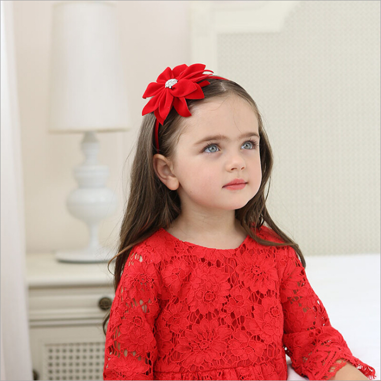 где купить 2017 boutique red flower hairband girls kids hair head hoop band accessories for children hairbands headband headdress headwear по лучшей цене