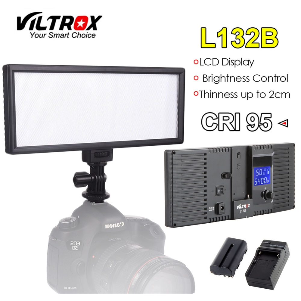 Viltrox L132B Camera LED Light Ultra Thin LCD Display Dimmable Studio Lamp Panel Battery & Charger for DSLR Camera DV Camcorder travor 2 in 1 photography 160 led studio lighting kit dimmable ultra high power panel digital camera dslr camcorder led light