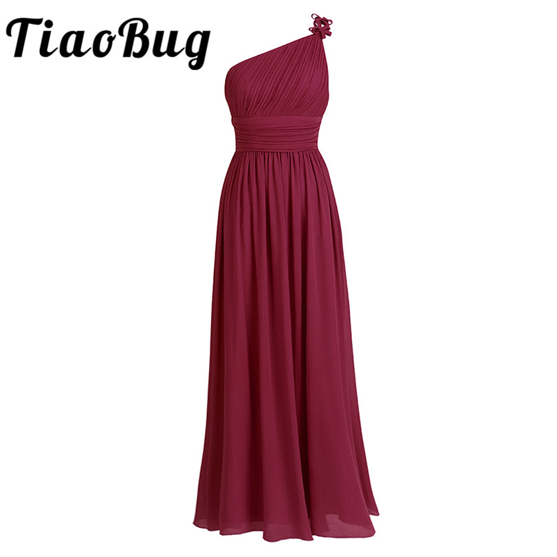 TiaoBug Long Chiffon Bridesmaid Dresses One Shoulder Beading Light Green Black Burgundy Dark Purple Gray Bridesmaid Dress Gown