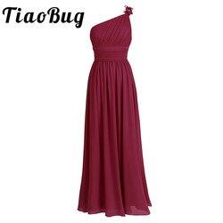 Tiaobug longo chiffon vestidos de dama de honra um ombro beading luz verde preto borgonha roxo escuro cinza vestido de dama de honra vestido