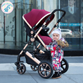 Russia free shipping high landscape stroller can sit or lie four bidirectional shock stroller folded stroller