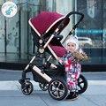 Russia free shipping high landscape stroller can sit or lie four bidirectional shock stroller folded stroller